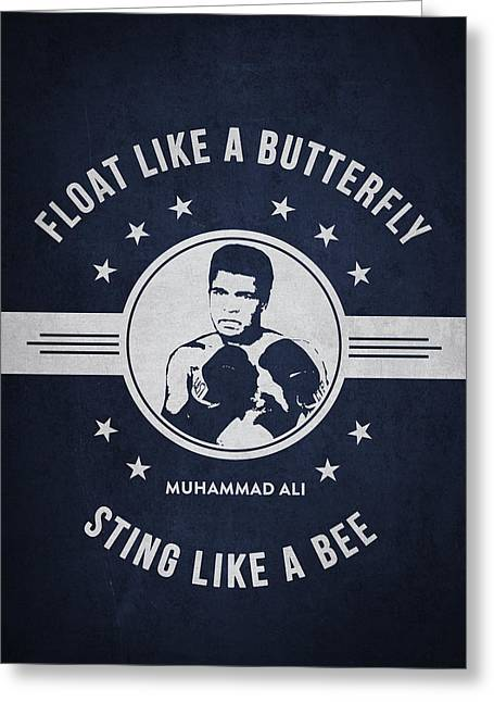 Muhammad Ali - Navy Blue Greeting Card by Aged Pixel