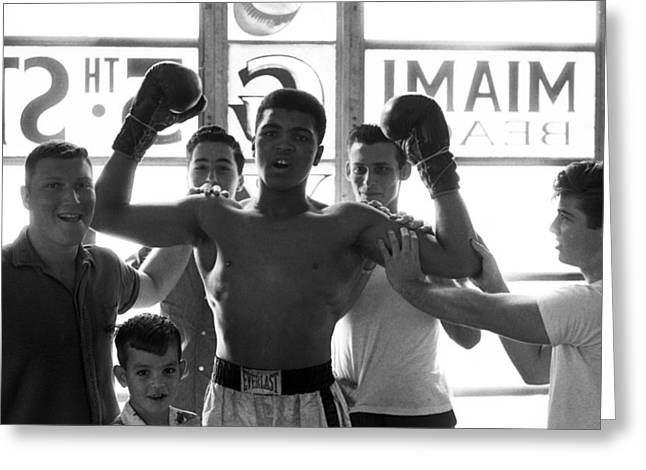 Intensity Greeting Cards - Muhammad Ali Raising Arms Greeting Card by Retro Images Archive