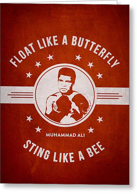 Muhammad Ali - Red Greeting Card by Aged Pixel