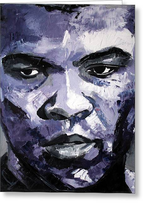 Boxer Abstract Art Greeting Cards - Muhammad Ali Greeting Card by Richard Day