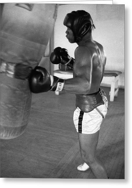 Work Out Greeting Cards - Ali Punching Bag Greeting Card by Retro Images Archive