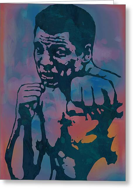 Golden Globe Greeting Cards - Muhammad Ali  - Stylised Etching Pop Art Poster Greeting Card by Kim Wang