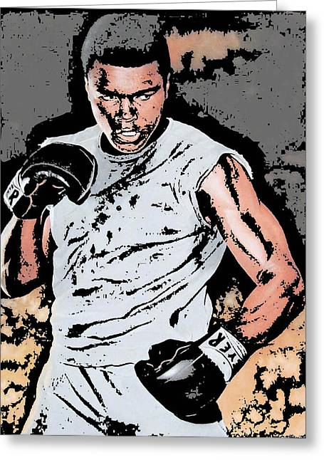 Champ. Boxer Greeting Cards - Muhammad Ali Greeting Card by Tanysha Bennett-Wilson