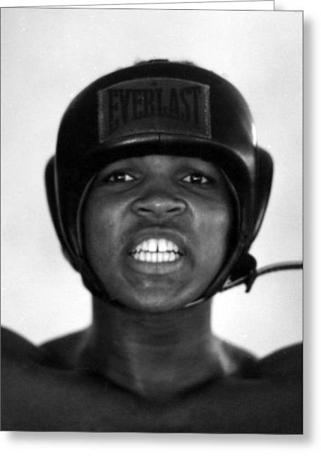 African-americans Greeting Cards - Muhammad Ali Teeth Gritted Greeting Card by Retro Images Archive