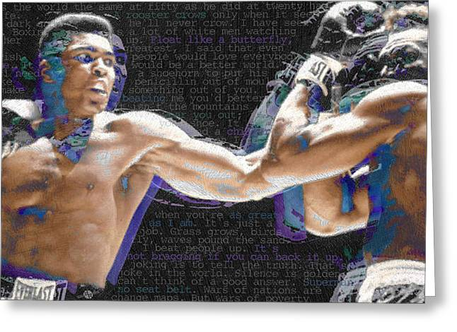Sepia Mixed Media Greeting Cards - Muhammad Ali Greeting Card by Tony Rubino