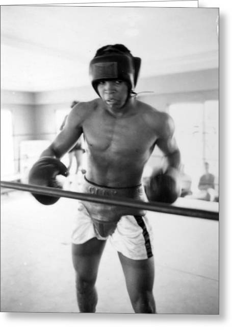Intensity Greeting Cards - Muhammad Ali Training Inside Ring Greeting Card by Retro Images Archive