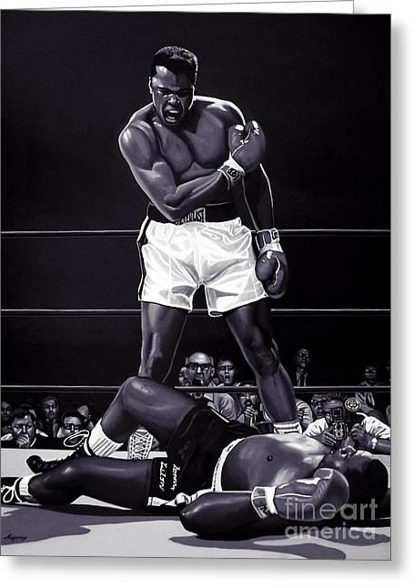 Mohammed Ali Greeting Cards - Muhammad Ali versus Sonny Liston Greeting Card by Meijering Manupix
