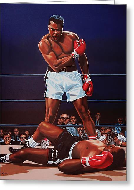 Realistic Paintings Greeting Cards - Muhammad Ali versus Sonny Liston Greeting Card by Paul  Meijering