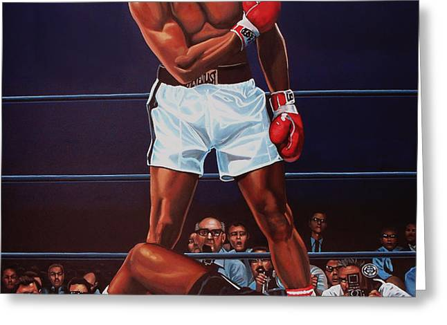Muhammad Ali versus Sonny Liston Greeting Card by Paul  Meijering