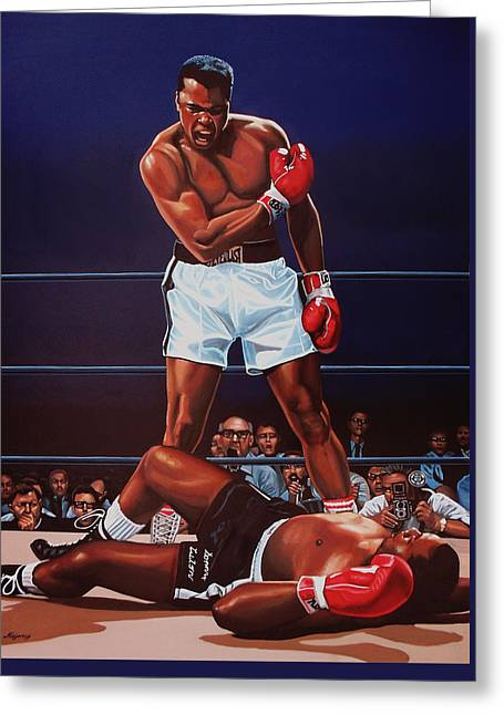 Work Greeting Cards - Muhammad Ali versus Sonny Liston Greeting Card by Paul Meijering