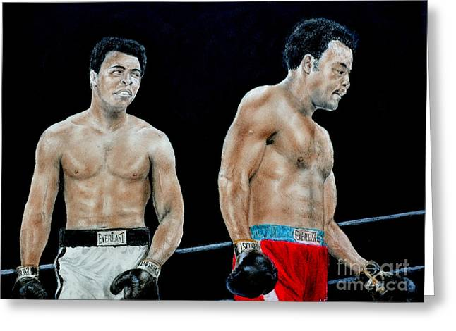 Training Mixed Media Greeting Cards - Muhammad Ali vs George Foreman Greeting Card by Jim Fitzpatrick