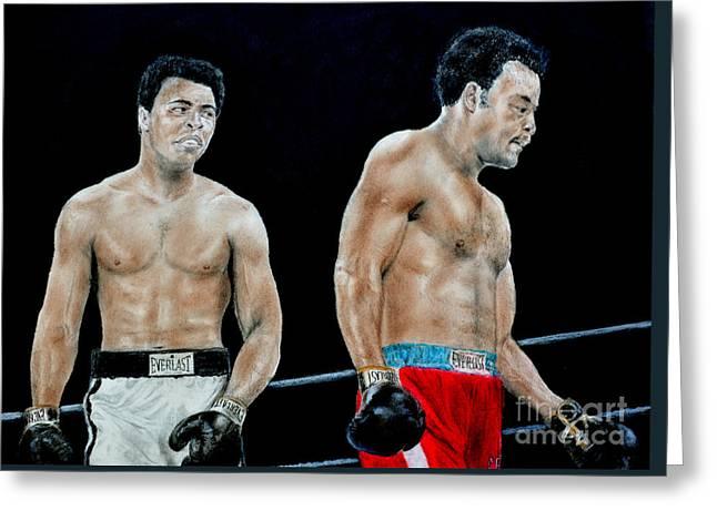 Muhammad Ali Vs George Foreman Greeting Card by Jim Fitzpatrick