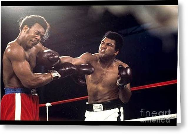 Boxing Greeting Cards - Muhammad Ali vs George Forman Heavyweight Championship Fight Greeting Card by Anthony Morretta