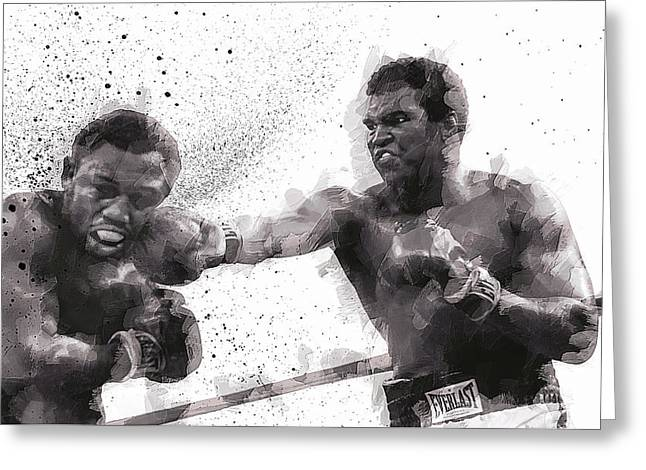 Knockout Greeting Cards - MUHAMMAD ALI vs JOE FRAZIER Greeting Card by Daniel Hagerman