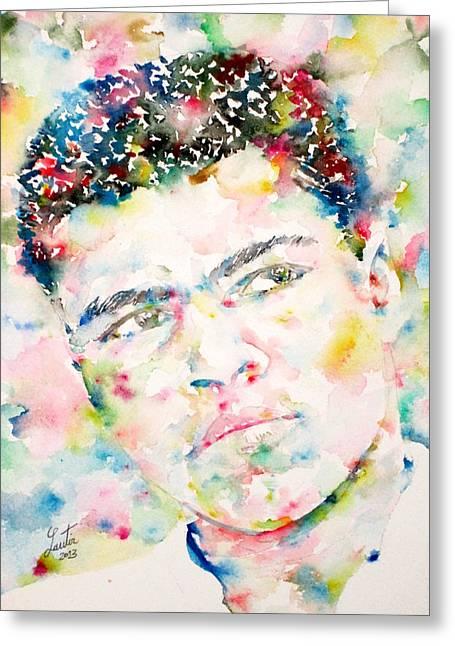 Muhammad Ali - Watercolor Portrait.1 Greeting Card by Fabrizio Cassetta