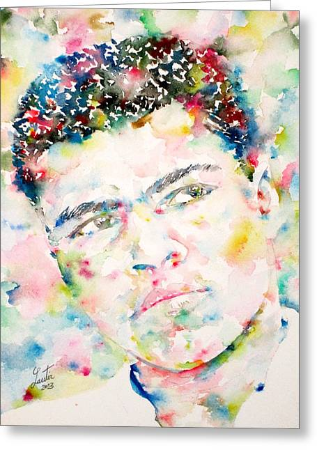 Boxe Greeting Cards - MUHAMMAD ALI - watercolor portrait.1 Greeting Card by Fabrizio Cassetta