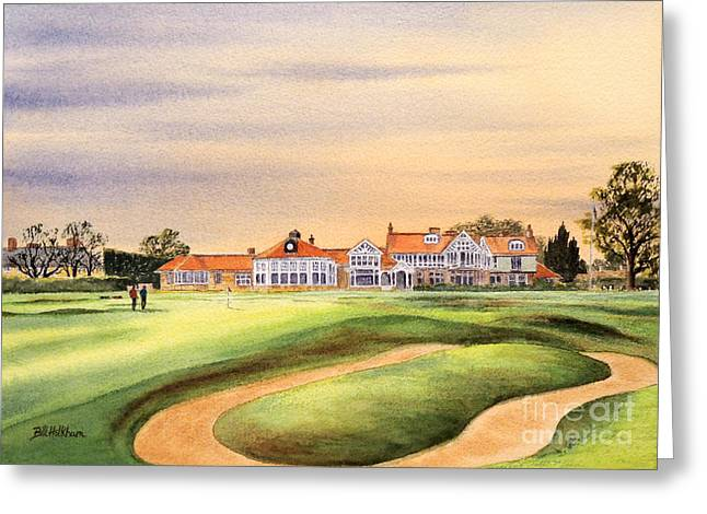 Muirfield Golf Course 18th Green Greeting Card by Bill Holkham
