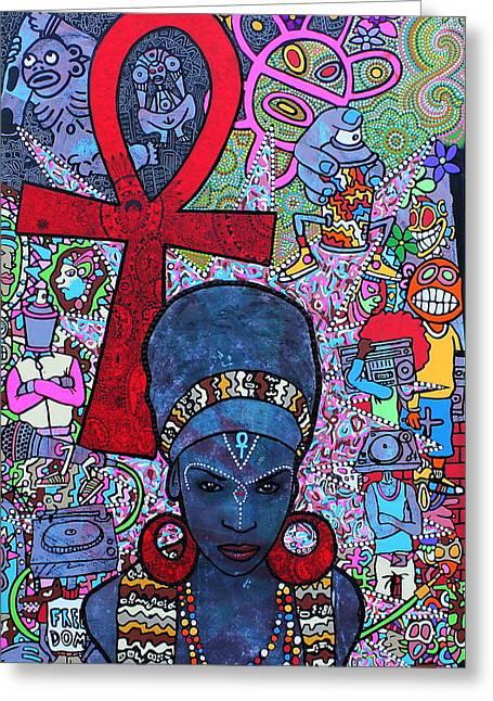 Taino Greeting Cards - Mujer Dinamica Greeting Card by Ramel Jasir