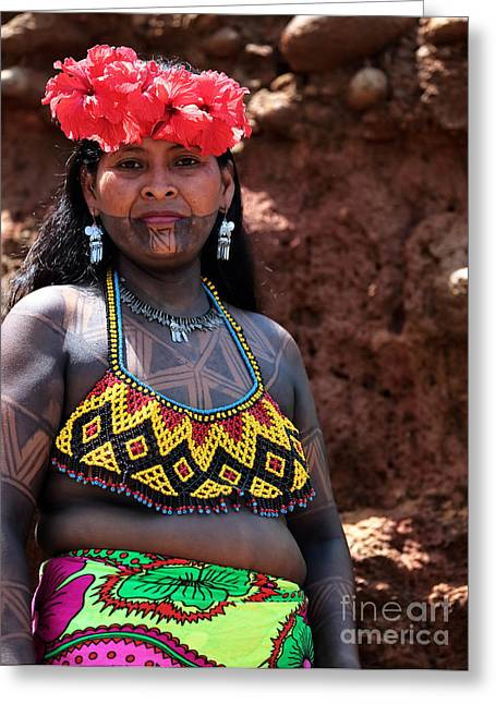 Mujer Greeting Cards - Mujer Embera Greeting Card by John Rizzuto