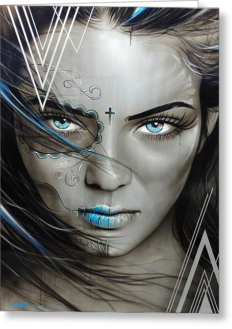 Gothic Art Greeting Cards - Mujeres De Ojos Azules Greeting Card by Christian Chapman Art