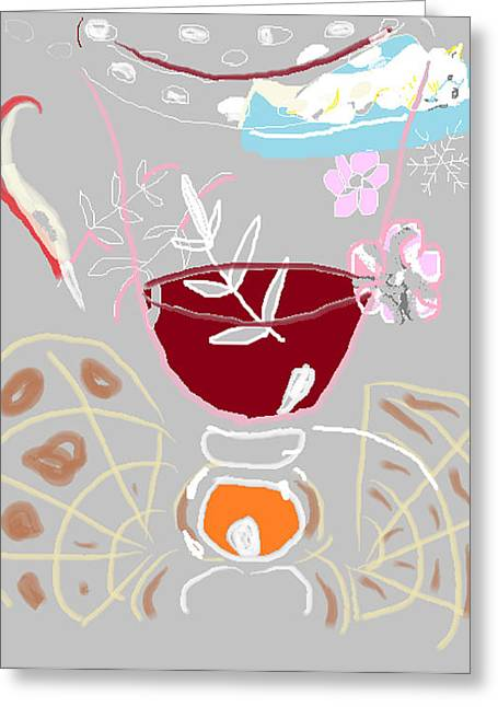 Muji With Wine Glass Greeting Card by Anita Dale Livaditis