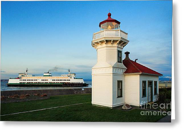 Red Roof Photographs Greeting Cards - Mukilteo Ferry and Lighthouse Greeting Card by Inge Johnsson