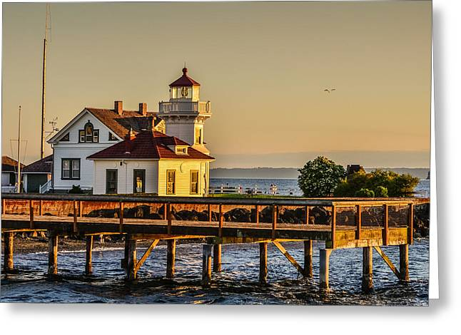 Mukilteo Lighthouse Sunset Greeting Card by Puget  Exposure