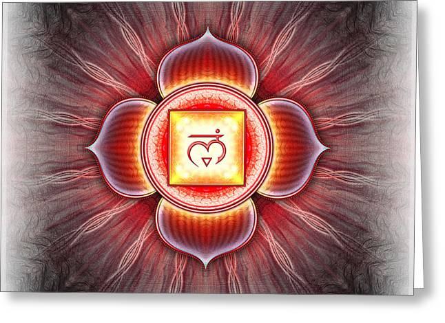 Red Chakra Greeting Cards - Muladhara Chakra Series IV Greeting Card by Dirk Czarnota