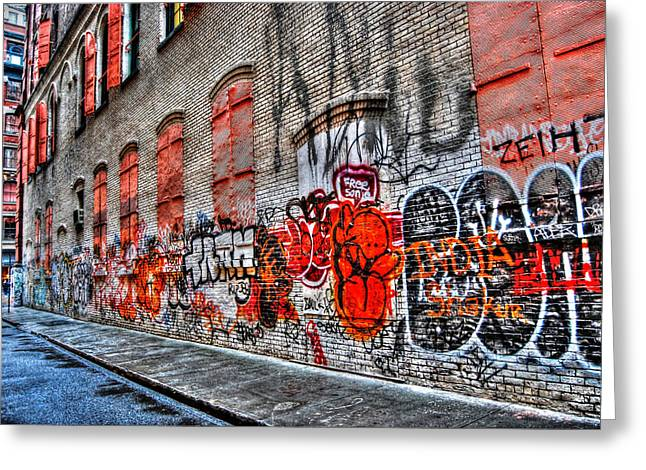 Nyc Art Greeting Cards - Mulberry Street Graffiti Greeting Card by Randy Aveille