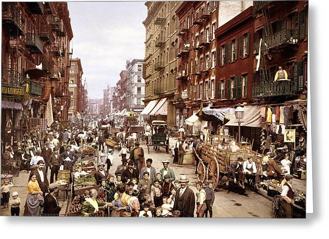 Commerce Greeting Cards - Mulberry Street, New York, circa 1900 Greeting Card by Science Photo Library