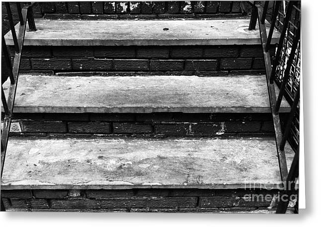 Stone Steps Greeting Cards - Mulberry Street Steps mono Greeting Card by John Rizzuto