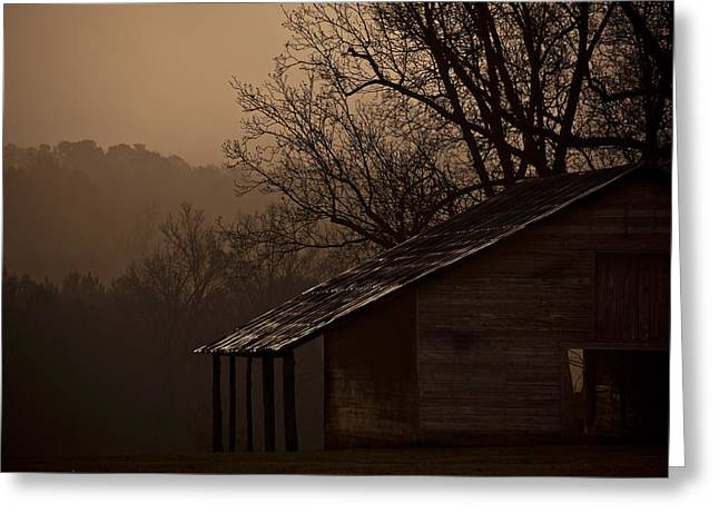 Shack Greeting Cards - Mule Barn In The Fog Greeting Card by Dennis Ludlow