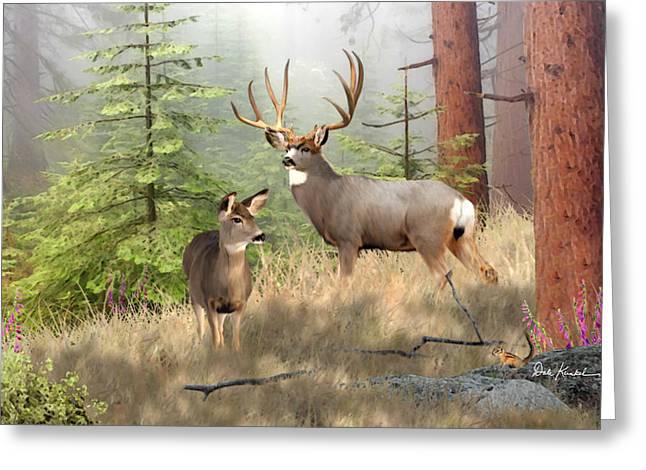 Deer Greeting Cards - Mule Deer Art - Magical Forest Painting Greeting Card by Dale Kunkel Art