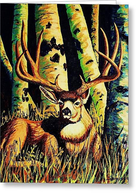 Splashy Paintings Greeting Cards - Mule Deer Buck in Aspens Greeting Card by Cynthia Sampson