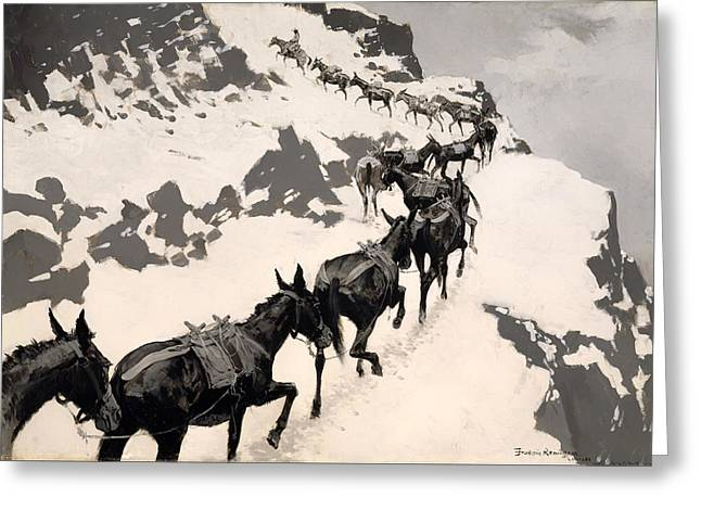 Mountainside Art Greeting Cards - Mule Pack Greeting Card by Frederic Remington
