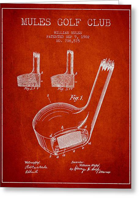 Game Digital Greeting Cards - Mules Golf Club Patent Drawing from 1902  - Red Greeting Card by Aged Pixel