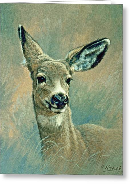 Mules Greeting Cards - Muley Fawn at Six Months Greeting Card by Paul Krapf
