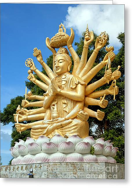 Praying Hands Greeting Cards - Multi armed buddha 06 Greeting Card by Antony McAulay