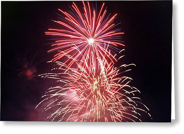 Pyrotechnics Greeting Cards - 4th of July Fireworks 1 Greeting Card by Howard Tenke
