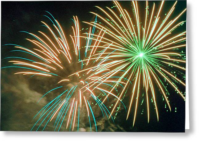 Pyrotechnics Greeting Cards - 4th of July Fireworks 2 Greeting Card by Howard Tenke