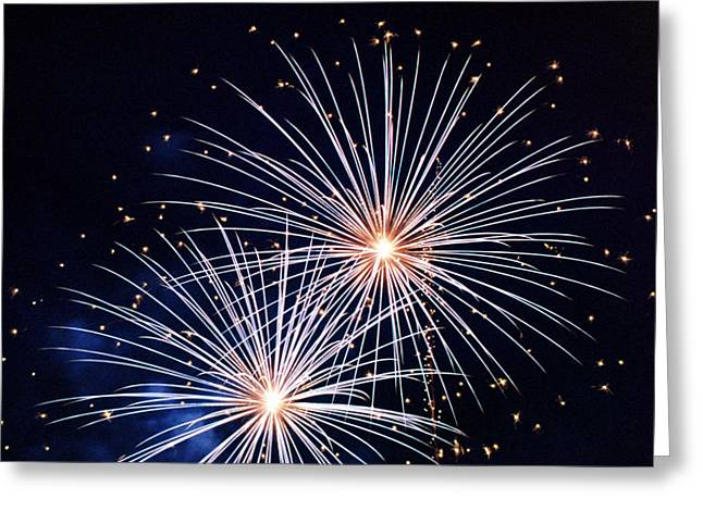 Pyrotechnics Greeting Cards - 4th of July Fireworks 3 Greeting Card by Howard Tenke