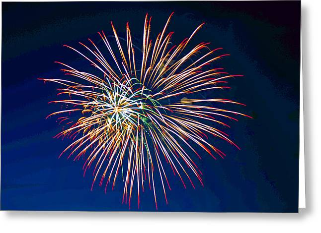 Pyrotechnics Greeting Cards - West Virginia Day Fireworks 2 Greeting Card by Howard Tenke