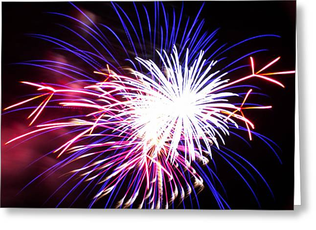 Pyrotechnics Greeting Cards - 4th of July Fireworks 15  Greeting Card by Howard Tenke