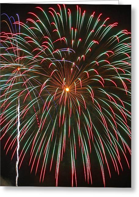 Pyrotechnics Greeting Cards - 4th of July Fireworks 16 Greeting Card by Howard Tenke