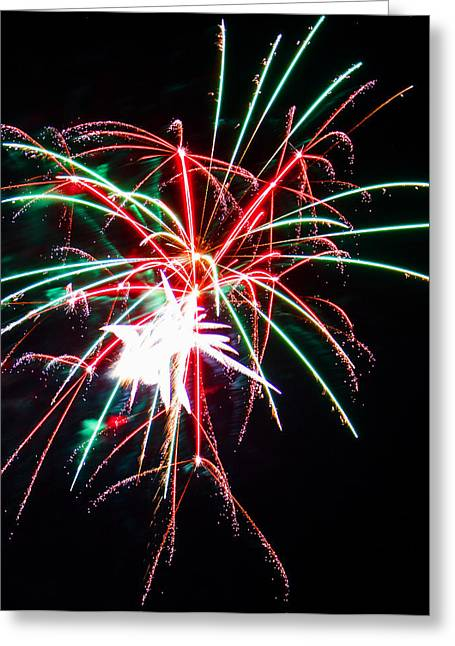 Pyrotechnics Greeting Cards - 4th of July Fireworks 19 Greeting Card by Howard Tenke