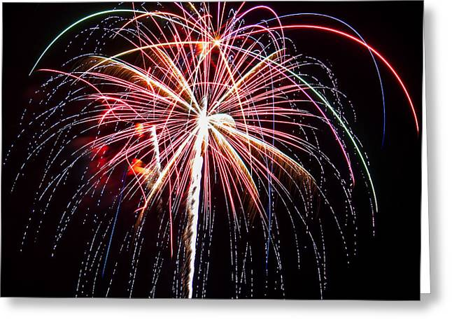 Pyrotechnics Greeting Cards - 4th of July Fireworks 20 Greeting Card by Howard Tenke