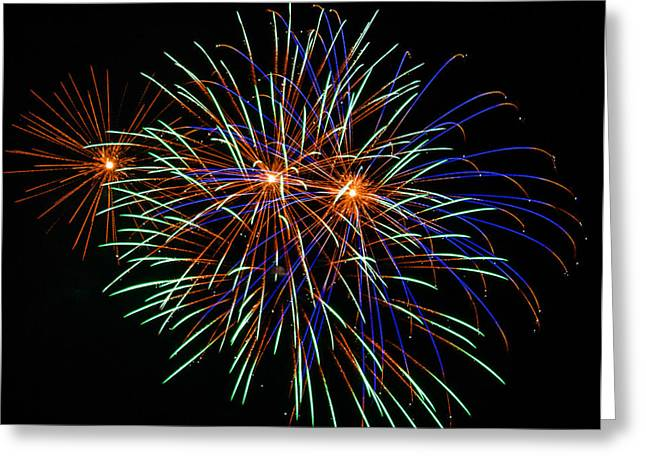 Pyrotechnics Greeting Cards - 4th of July Fireworks 22 Greeting Card by Howard Tenke