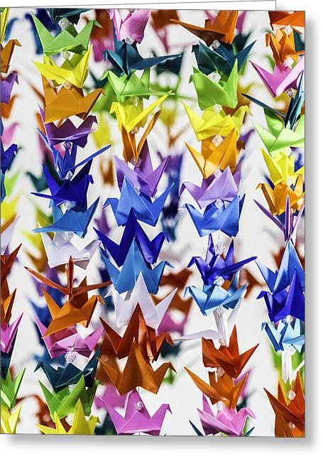 Hanging Mobile Greeting Cards - Multi Color Crane Detail 2415 Greeting Card by Karen Celella