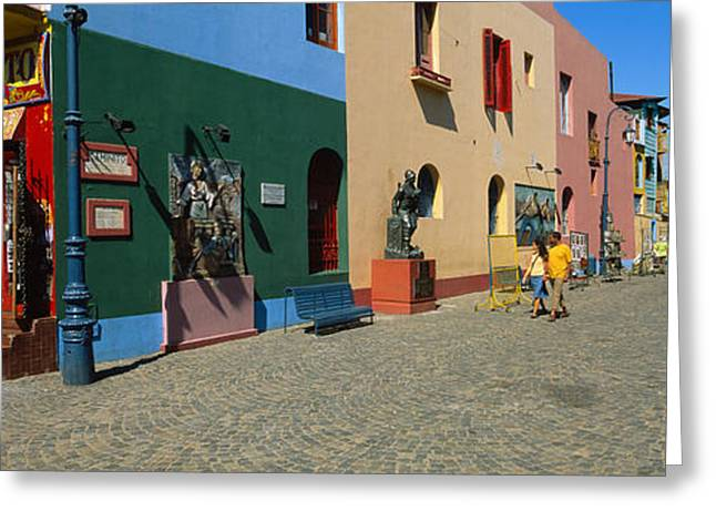 Buenos Aires Greeting Cards - Multi-colored Buildings In A City, La Greeting Card by Panoramic Images