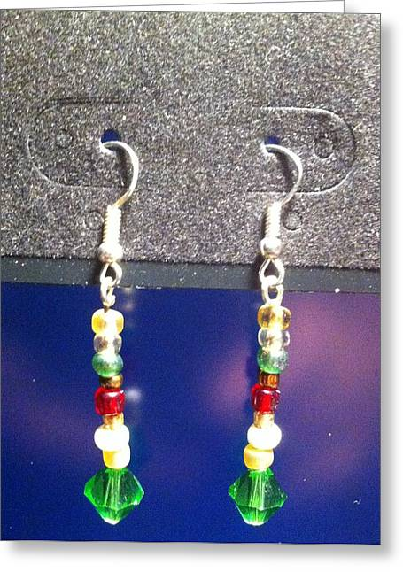 Gold Earrings Greeting Cards - Multi Colored Dangle Earrings Greeting Card by Kimberly Johnson